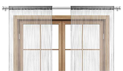 wometo 2er Set (2 Stück) Fadenvorhang Türvorhang Fäden 90x245 cm grau - Stangendurchzug OekoTex kürzbar waschbar Uni einfarbig in vielen bunten Farben grau