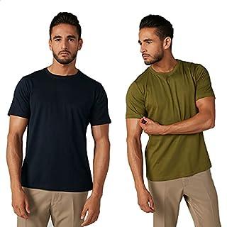 Splash Short Sleeves Round Neck Cotton T-Shirt for Men, 2 Pieces - Black & Green, M