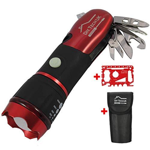 DIY TECH UK - 15 en 1 - Multiherramienta Linterna + 48 EN 1 HERRAMIENTA GRATUITA - Tecnología LED Superbrillante de Vanguardia - 300 Metros - EXTRA FUERTE Acero Con Alto Contenido de Carbono - Rojo