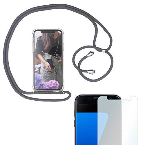 Eximmobile Handykette + Folie Schutzhülle kompatibel mit Samsung Galaxy A8 2018 Handy Hülle mit Band Seil in Grau Schnur Hülle zum Umhängen Handytasche Umhängehülle Kette Kordel Silikoncase Tragen