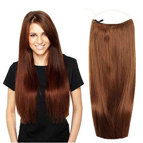 Extensions de cheveux invisibles en fil de fer - 28 cm - Cheveux humains - Sans clips - Sans rubans - 100 g (15 pouces 18# blond cendré)