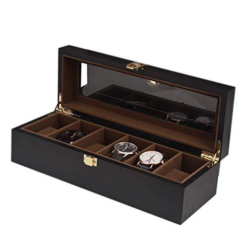 GFDFD Caja de Almacenamiento - Organizador de 6 Rejillas Caja de Reloj Negra Caja de exhibición de Reloj de Madera Caja de Almacenamiento de Pulsera de joyería