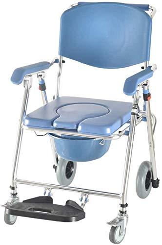 flycqb Duschstuhl, Commode Mobile Stuhl Toilettenstuhl mit Rollstuhl Rollstuhl Dusche Transportstuhl Klappbarer mobiler Stuhl für Badezimmer Toilettenhocker Ältere Behinderte