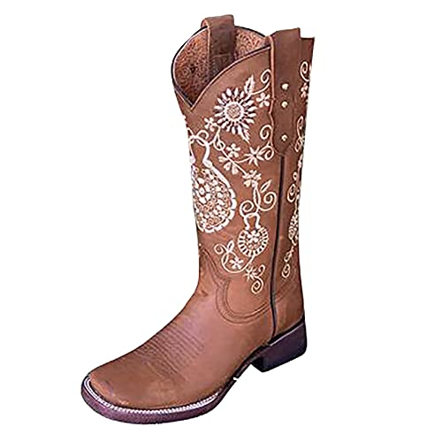 DKBL Boots for Women Fashion Retro Embroidered Boots Thick Heel Western Cowboy Boots Autumn and Winter Ankle Boots Brown