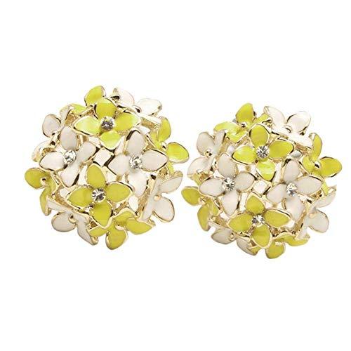 MySixKeen Pendientes de botón Pendientes hipoalergénicos con Incrustaciones de Diamantes de imitación de Flores de trébol de Cuatro Hojas