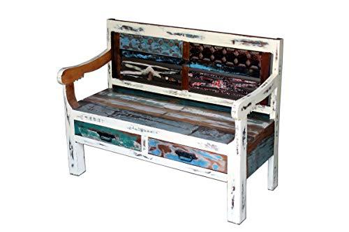 Loft24 A/S Indische Sitzbank Bank Holzbank Massiv Holz Mehrfarbig Shabby Chic 2 Schubladen Rückenlehne