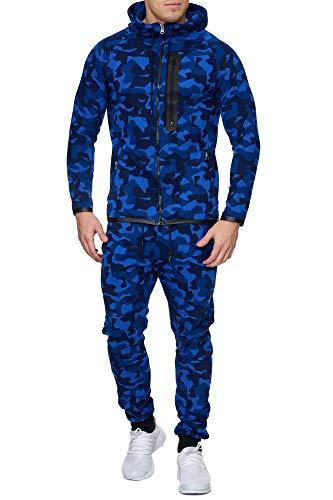 Code47 Camouflage Army Jogginganzug Jogging Hose Jacke Sportanzug Herren Blau S