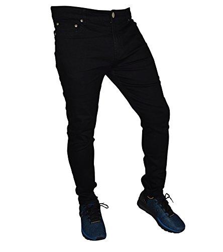 Designer Herren Jeans Hose Skinny Slim Fit Jeanshosen Super Stretch (34W / 32L, Schwarz)