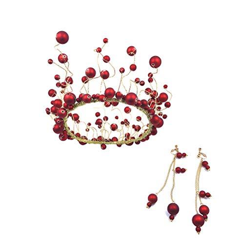 Lurrose Fashion Bridal Crown Set de pendientes de perlas hechos a mano Tiara joyería conjuntos para boda fiesta concurso (rojo)