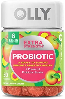 OLLY Probiotic Gummy Immune and Digestive Support, 1 Billion CFUs, Chewable Probiotic Supplement, Mango, 25 Day Supply - 50 Count