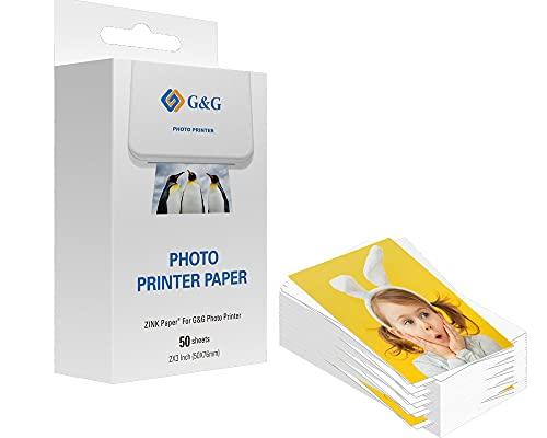 G&G ZINK Papier für G&G Photo Printer selbstklebende Fotopapiere (5 x 7,6 cm) (50 Stück) auch passend für HP Sprocket, Canon Zoemini und weitere ZINK Drucker, 2x3