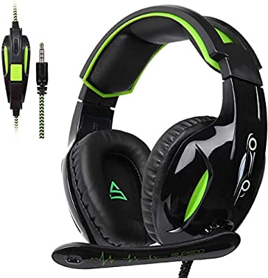SUPSOO G813 Xbox One, PS4 Gaming Headset 3.5mm wired Over-ear Noise Isolating Microphone Volume Control for Mac/PC/Laptop / PS4/Xbox one -Black
