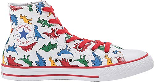 Converse Boys Chuck Taylor All Star Dinoverse High Top Sneaker White/Enamel Red/Totally Blue 2 M US Little Kid