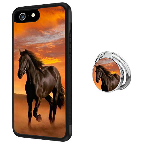 iPhone 6s Plus 6 Plus Case with Holder Ring Horse Soft Black TPU Rubber and PC Anti-Slip Grip Cover Case, Shockproof Defend Protective Phone Case for iPhone 6s Plus 6 Plus