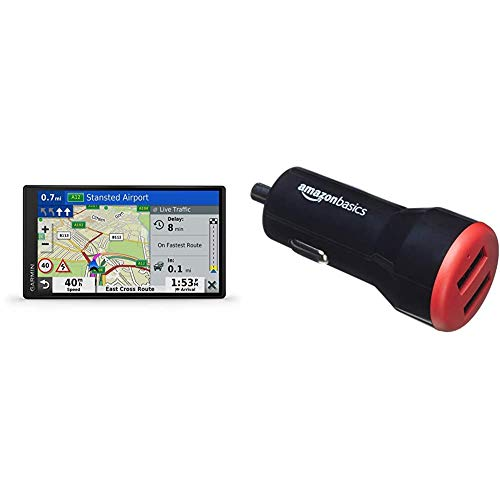 Garmin DriveSmart 65 MT-D EU Navi - extragroßes Touch-Display, 3D-Navigationskarten und Live-Traffic & Amazon Basics - Kfz-Ladegerät, USB-Anschluss: 2 Eingänge, 4,8Ampere / 24W, Schwarz/Rot