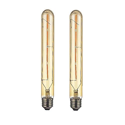 OUGEER Paquete de 2 bombillas LED T30 de tubo largo de 4 W, estilo Edison, filamento de vidrio dorado ahumado T30 E27 4 W, rosca Edison