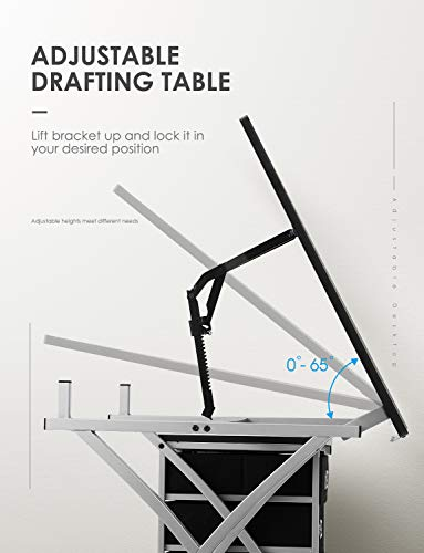 Kealive Drafting Table Adjustable Drawing Desk, X-Cross Art Desk Craft Station with Storage 3 Drawers Padded Stool and Thick MDF Desktop
