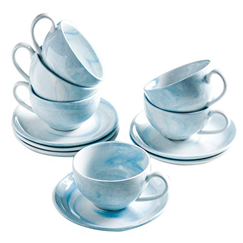 Yundu Ceramic Espresso Coffee Cups with Saucers 4 oz for Specialty CoffeDrinkLatteCafe Mocha and TeaSet of 6Cappuccino CupsMarble Colors of Blue