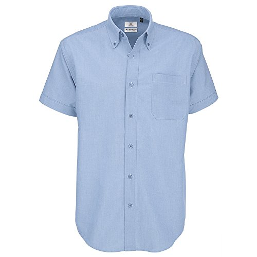 B&C Collection Oxford manche courte /hommes - Bleu Oxford, XL