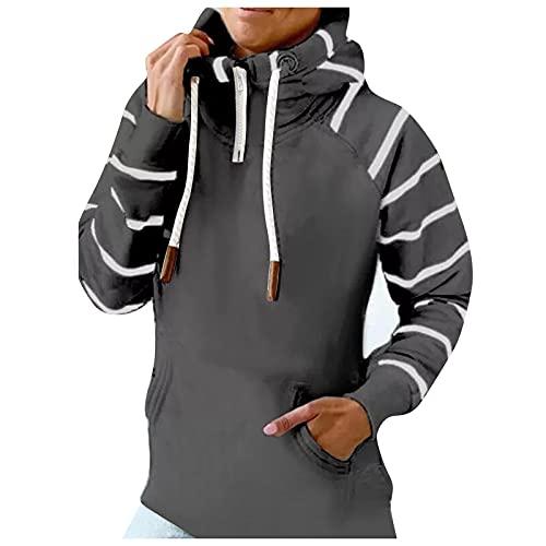 Briskorry Sudadera con capucha para mujer, cuello alto, estrella de cinco puntas, a rayas, con cordón, corte ajustado, para otoño, Gris-3, M