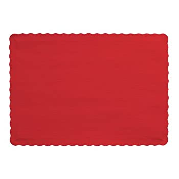 Creative Converting Paper Scalloped Edges Placemats 9.45  x 13.25  Classic Red