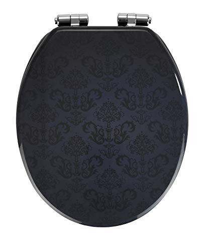 Wenko WC-Sitz Bellevue, Toilettensitz mit Absenkautomatik, WC-Deckel für sanftes Deckelschließen, mit Fix-Clip Hygienebefestigung, Toilettenbrille aus MDF, 35,5 x 42,5 cm, Dunkelbraun