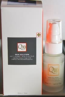 Q10 Skin Solution Anti Aging Multi Active Vital Eye Contour Cream With Vitamin C And Glycosaminoglycans .5 Oz. by