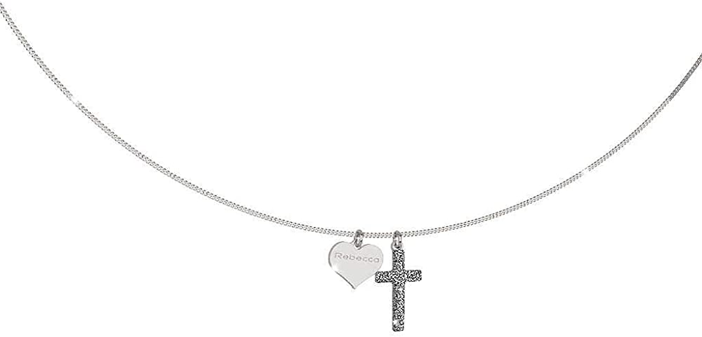 Rebecca collana per donna in argento 925 e ciondolo a forma di croce in sabbia di diamanti. SJOKAA02
