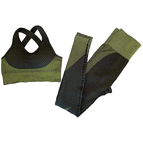 UYIDE Mujeres Sujetador sin Costuras Traje de Yoga Traje Deportivo Ropa de Entrenamiento Conjunto Pantalones para Deportes,Verde,L