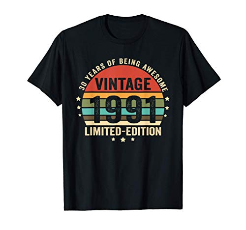 Retro Vintage 1991 30 Year Old 30th Birthday Gift Him Her T-Shirt