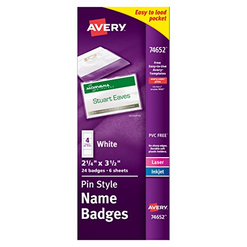 Avery Top-Loading Pin Style Name Badges, 2-1/4 x 3-1/2, Pack of 24 (74652),White