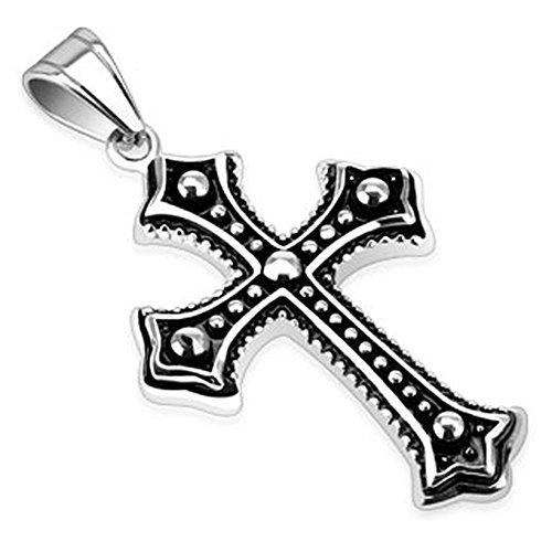 Bungsa Kreuz Schwarz mit Silbernen Metall Kugeln Halskettenanhänger Edelstahl Keltenkreuz (Kettenanhänger Pendant Anhänger Charm Beads Chirurgenstahl Damen Herren Schmuck)