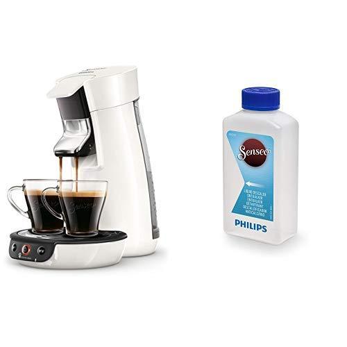 Philips Senseo Viva Cafe HD6563/00 Kaffeepadmaschine (Crema plus, Kaffee-Stärkeeinstellung), weiß mit Flüssigentkalker CA6520/00