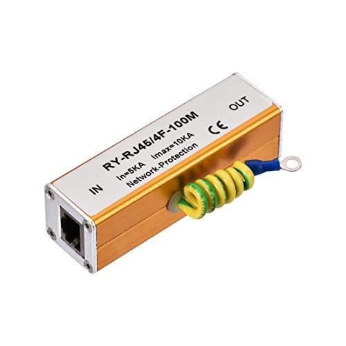 sourcing map Ethernet Überspannungsschutz für 10/100M Gigabit Modem Donner Blitzschutz Golden 10/100 Mbit/s