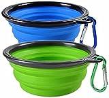 Woodlandu portátil Plegable de Viaje de Silicona para Mascotas Perro Gato Comida Agua Verde, Azul Cuencos con mosquetón, para Caminar Camping alimentación y riego