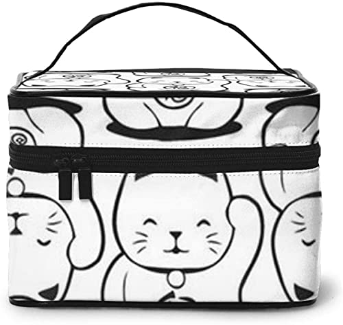 Bolsa de maquillaje grande con diseño de gato de la suerte japonesa para mujer, portátil, organizador de viaje con cremallera de malla cepillo de bolsillo con asa para niña