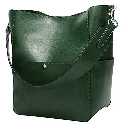 """Material:High quality genuine cowhide, solid color, Not easy to fade. Soft, Delicate, Durable. Size:Outside Bag:9.84'L*12.2'H*6.3'W""""/25*16*31CM, Internals Bag: 9.4""""W x 8.7""""H x 4.7""""D. Practical Internal Structure:A main big compartment, roomy interanl..."""