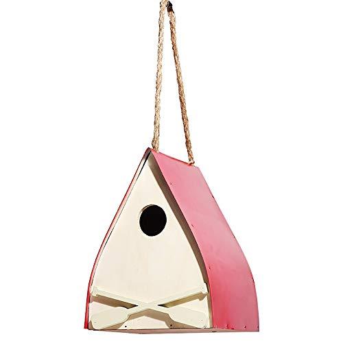 SCOC Casas para pájaros Nidal la casa del pájaro de la Novedad del pájaro Nidal del pájaro del jardín Decoraciones del rectángulo de Madera al Aire Libre Caja de Casa Red Bird para pájaros del jardín