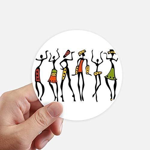 DIYthinker Afrique Primitive autochtone Noire Danse Totems Autocollants 10CM Mur Valise pour Ordinateur Portable Motobike Decal 8Pcs diamètre 10cm Multicolor