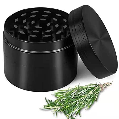 Herb Grinder 2 Inch 4 Pieces Magnetic Lid Zinc Alloy Spice Grinder with Pollen Scraper for Preparing Ingredients, Grinding Herbs, Spice, Black