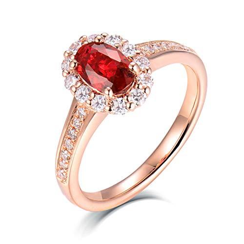 AnazoZ Anillo con Rubi Mujer,Anillos de Boda de Oro Rosa de 18 Kilates Oro Rosa y Rojo Oval Rubí Rojo 0.5ct Diamante 0.3ct Talla 22