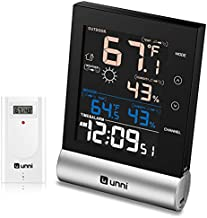 U UNNI Weather Station Wireless Indoor Outdoor Thermometer Hygrometer, Digital Thermometer Humidity Monitor 328ft with HD Color Screen&Wireless Remote Sensor, Power Adapter Included