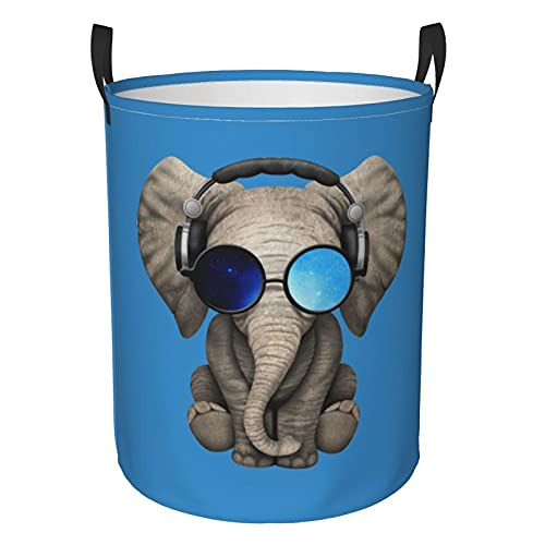 Elefante Gafas de sol azul cielo circular bolsa de lavandería, cesta plegable redonda organizador de almacenamiento Bin ropa sucia para dormitorio familiar