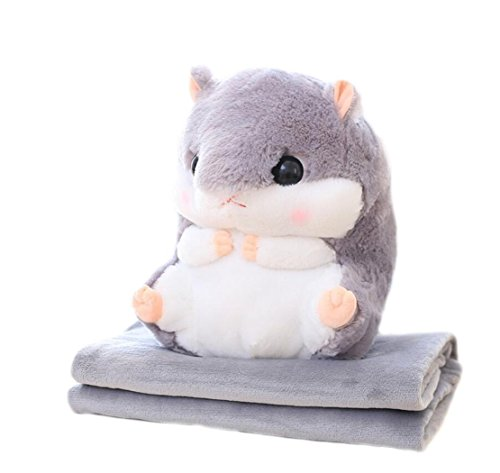 panda supermarket Tiere Kissen Decke–niedliches Gefülltes Plüsch Hamster Kopfkissen Kissen Spielzeug Puppe mit Decke grau