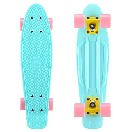 SANVIEW Complete 22 Inch Mini Cruiser Skateboard for Youths Beginners or Kids (Cute Blue Pink Wheel)