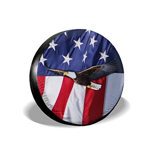Ballenadler 4. Juli Unabhängigkeitstag Amerikanische Flagge Ersatzreifenabdeckung wasserdichte UV-Sonnenradabdeckungen Passend für Jeep, Anhänger, Wohnmobil, SUV und viele Fahrzeuge 15 Zoll