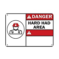 Danger Hard Hat Area with Korean Words Danger メタルポスター壁画ショップ看板ショップ看板表示板金属板ブリキ看板情報防水装飾レストラン日本食料品店カフェ旅行用品誕生日新年クリスマスパーティーギフト