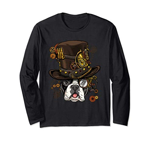 Steampunk French Bulldog Dog Steampunk French Bulldog Lovers Long Sleeve T-Shirt