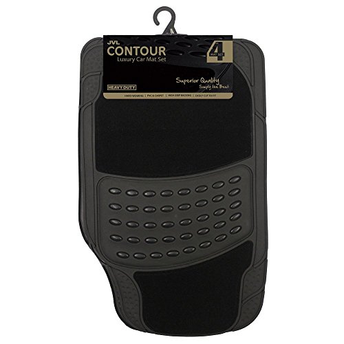 JVL 01-600  Set di tappetini per auto di qualità superiore in gomma e polipropilene, confezione da 4, nero
