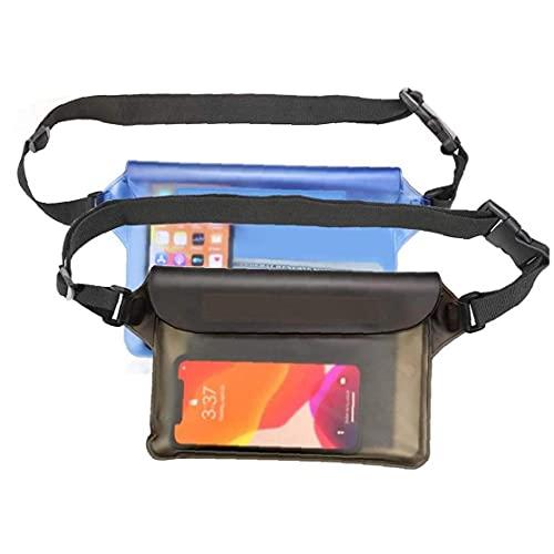 Pantalla De Bolsas Impermeables De 2 Piezas Cinturón Ajustable Táctil para Nadar, Bucear, Navegar, Pescar, Playa Gris Azul